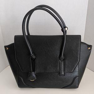 H&M faux leather black tote handbag